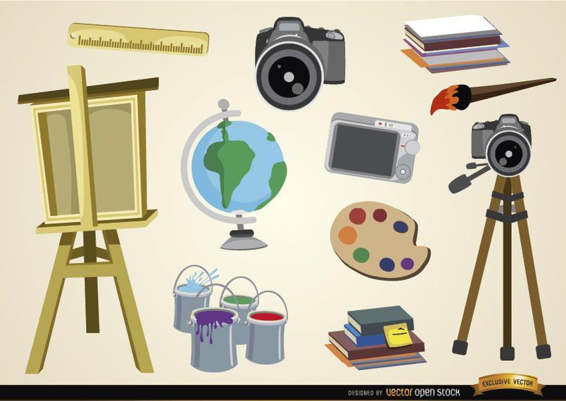 Objetos de artes visuales y estudios.