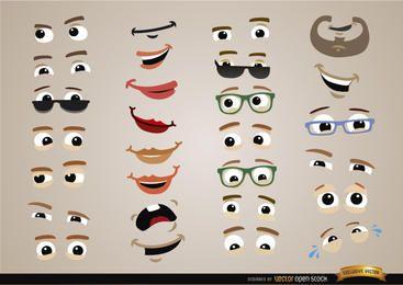 Conjunto de expresiones de ojos y bocas.