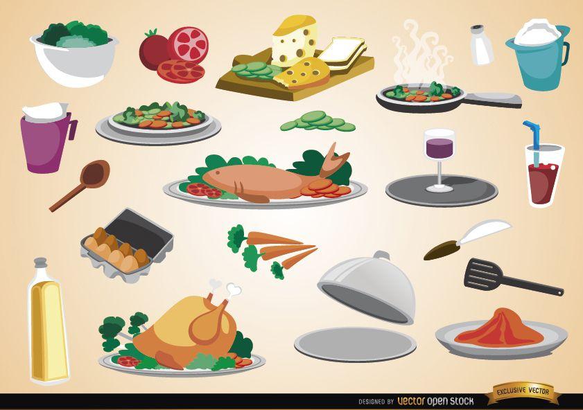 Food drinks ingredients and kitchen utensils