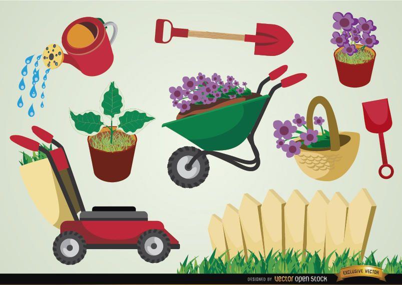 Conjunto de herramientas y plantas de jardinería.