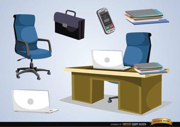 Mobiliário de escritório e objetos