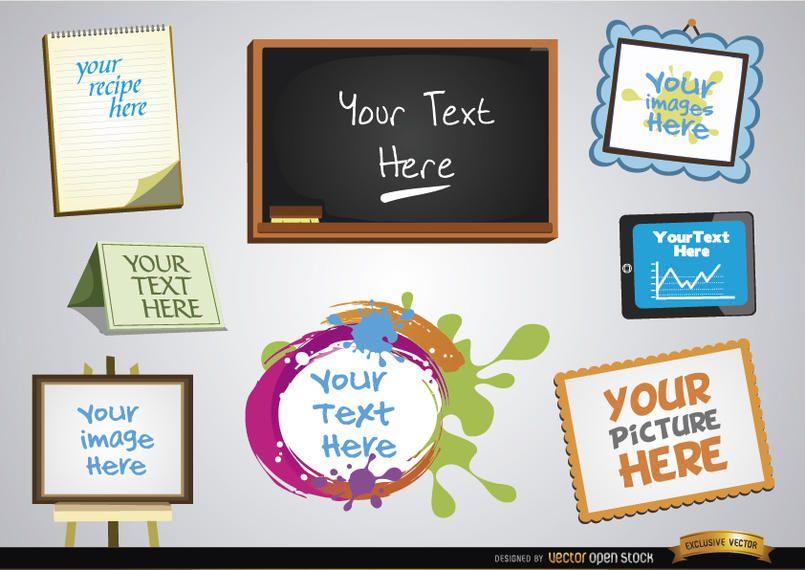 Quadros para mensagens e conjunto de imagens