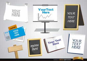 Letreros, pizarras, papeles para introducir texto.