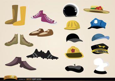 Colecciones de zapatos y sombreros.