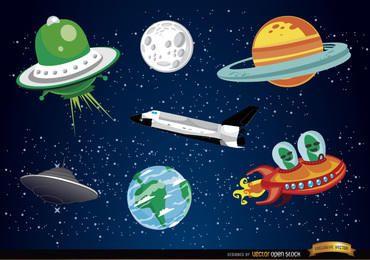 Elementos de dibujos animados del espacio exterior