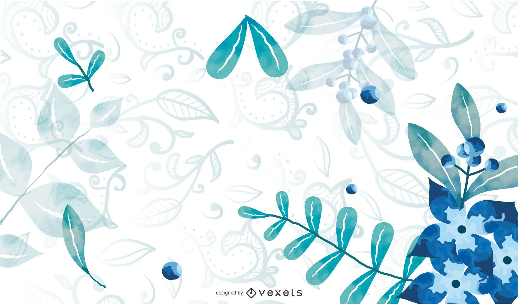 Abstract Floral Background with Blue Swirls
