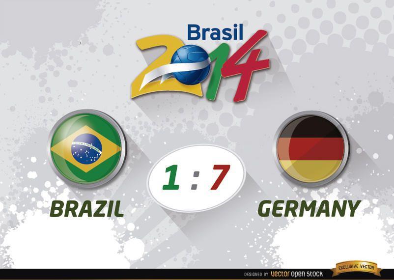 Brasil 1 - 7 Alemanha resultados Taça do Mundo