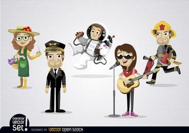 Personajes de dibujos animados con diferentes profesiones.