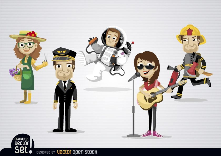 Cartoon Characters Jobs : Cartoon characters with different professions vector