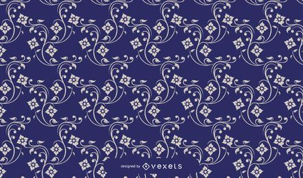Blaues Weinlese-europäisches Blumenmuster