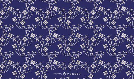 Blue Vintage European Floral Pattern
