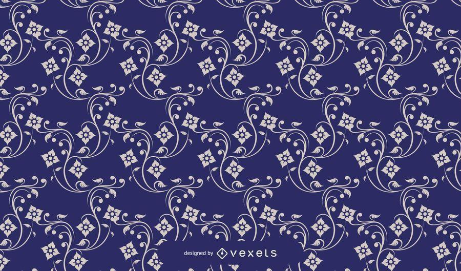 Patrón floral azul del vintage azul
