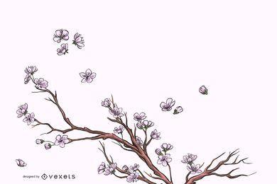Eleganter voller Blüten-Flourish-Hintergrund