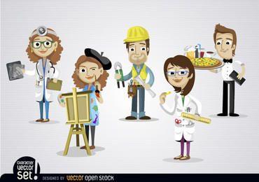 Personas que trabajan en diferentes trabajos.