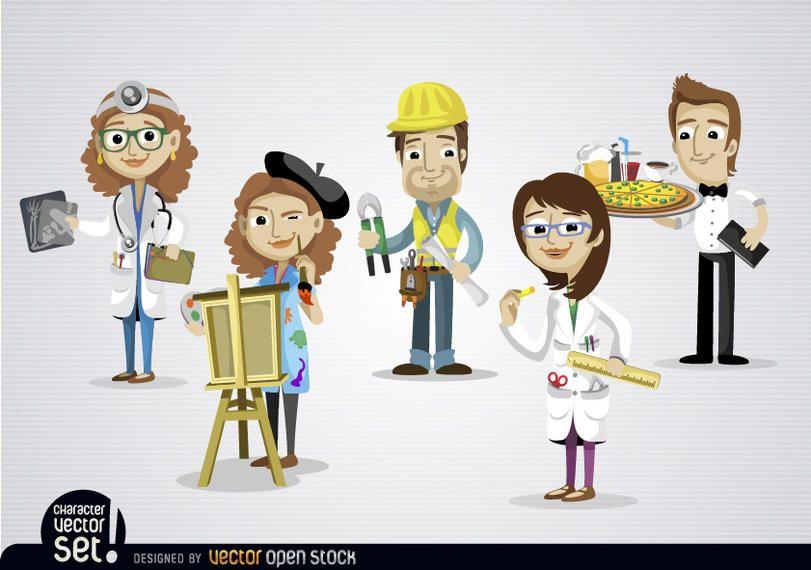 Menschen, die in verschiedenen Berufen arbeiten