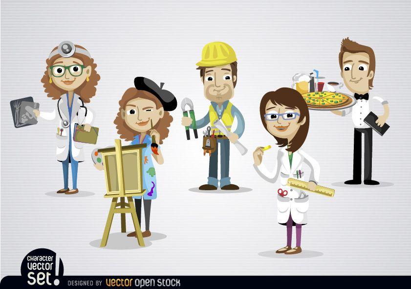 Pessoas trabalhando em empregos diferentes