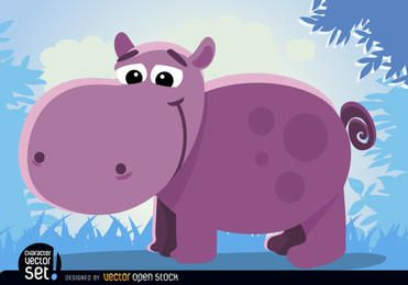 Animal hipopótamo desenho animado