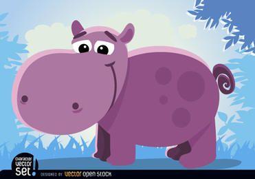 Hipopótamo de dibujos animados de animales