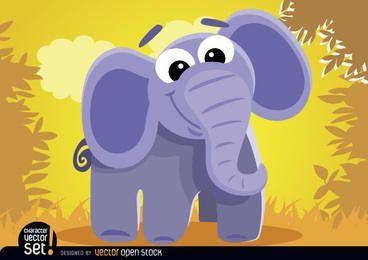 Elefante de dibujos animados en la selva