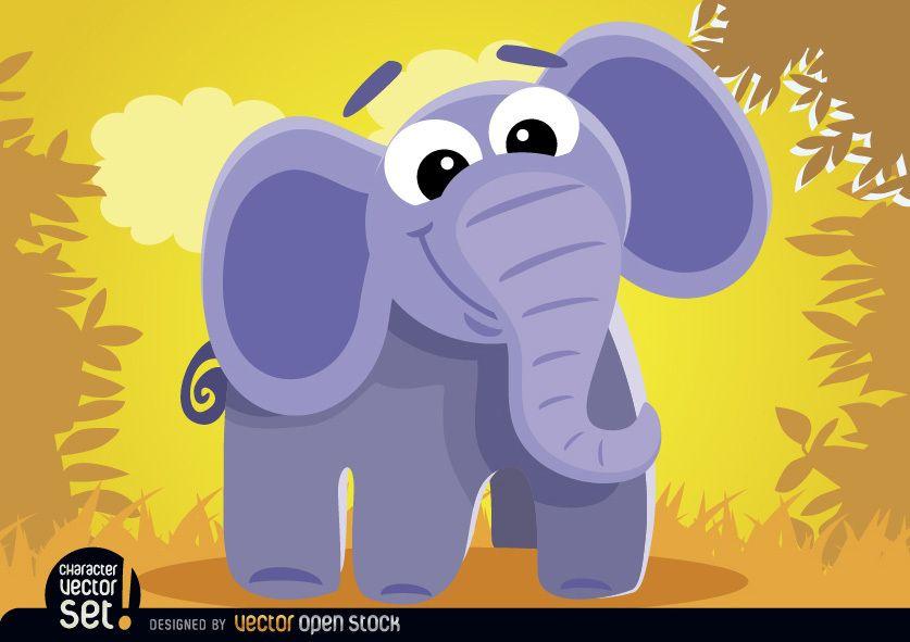 Cartoon elephant in the jungle
