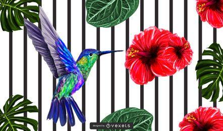Frühlingsblumenhintergrund mit Linien und Vogel