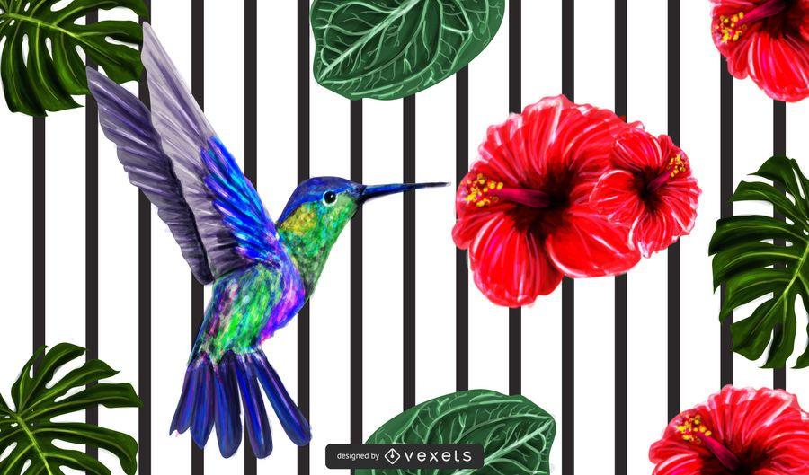 Frühlings-Blumen-Hintergrund mit Linien und Vogel