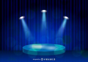 Bühne, die blauen Leinenhintergrund beleuchtet