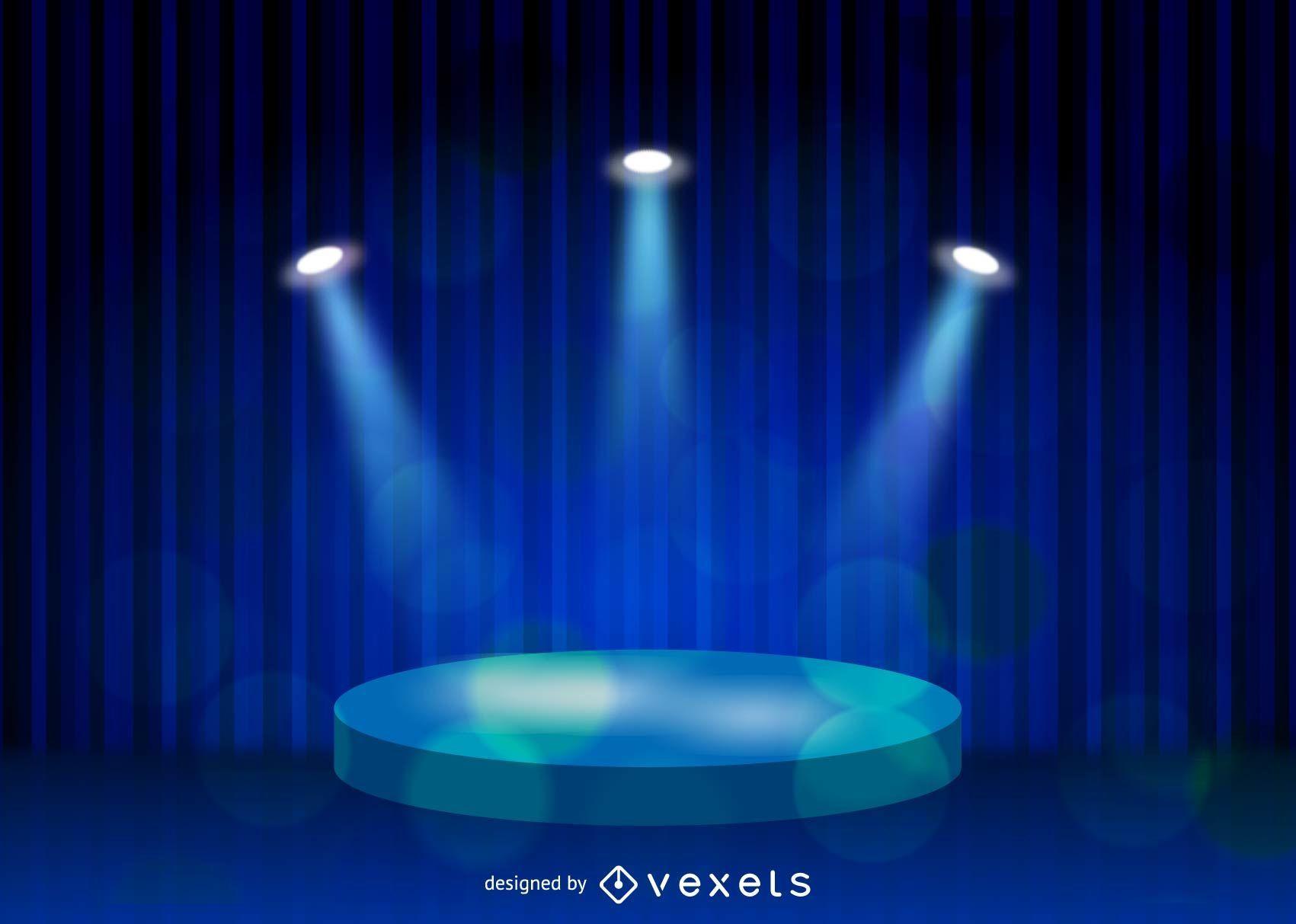 Fondo de lino azul de iluminación de escenario