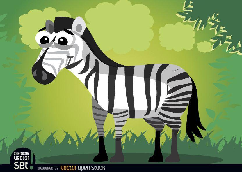 Sonriente animal cebra de dibujos animados