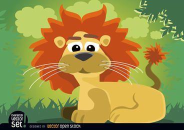 León de dibujos animados animal sentado en la selva
