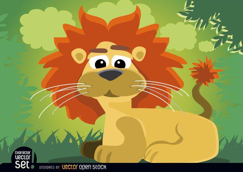 Animal le?o de desenho animado sentado na selva