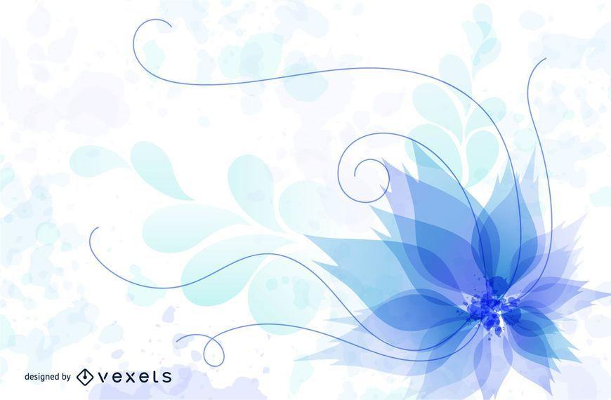 Remolinos azules fluorescentes y hojas florales