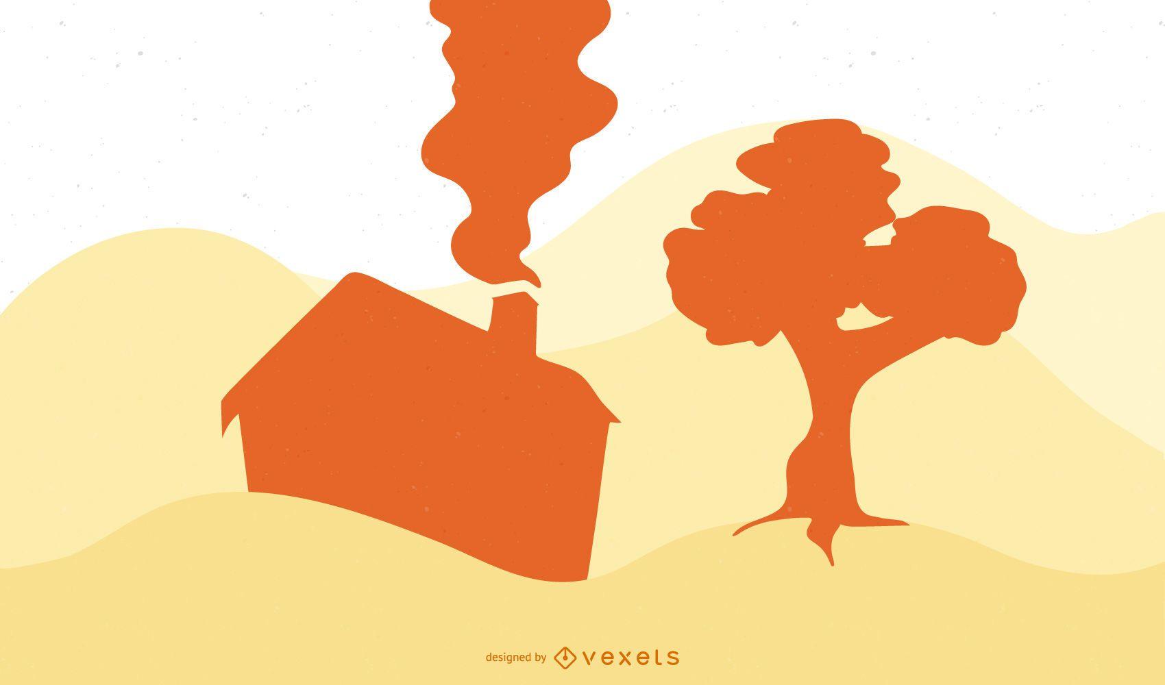 Casa y paisaje de silueta de árbol de roble