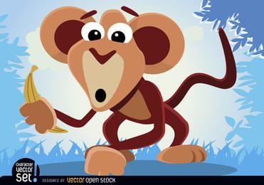 Animales del mono con el plátano
