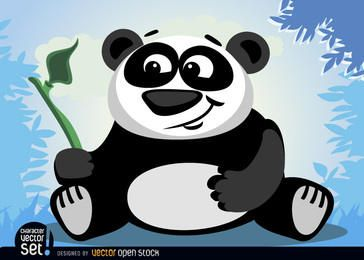 Animales del oso de panda con la rama de bambú