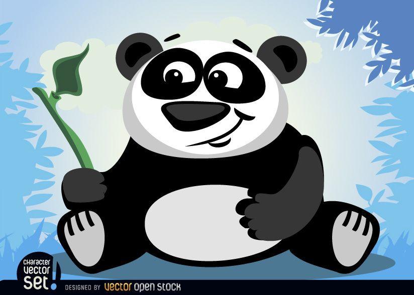 Panda bear animal with bamboo branch