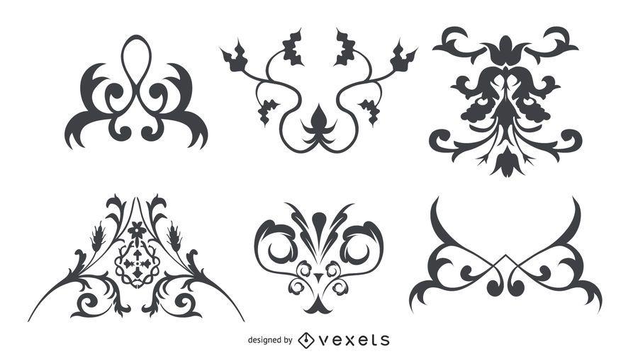 Conjunto de adornos florales decorativos silueta