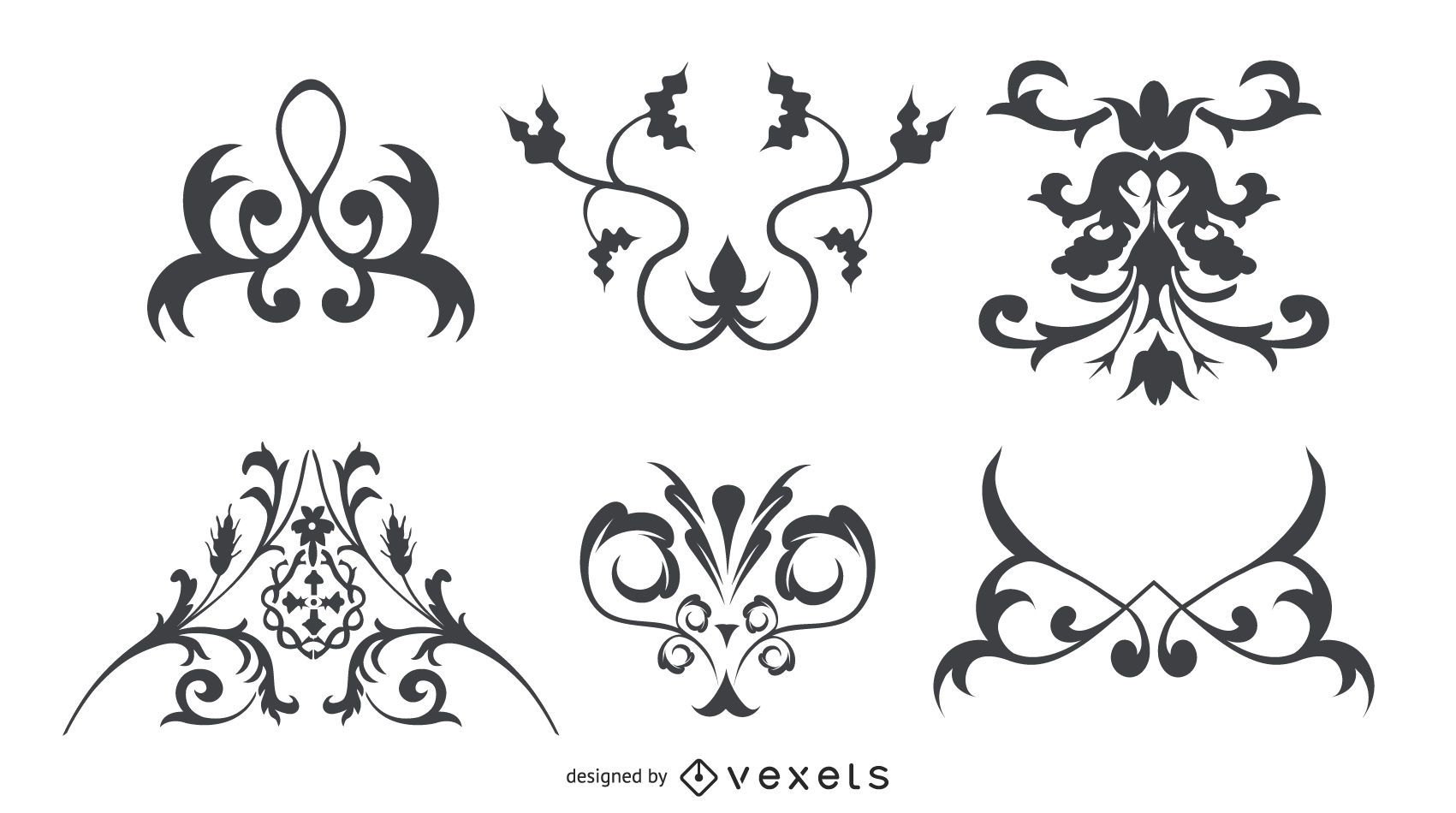 Conjunto de adornos florales de silueta decorativa
