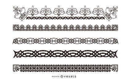 Conjunto abstrato de borda preto e branco