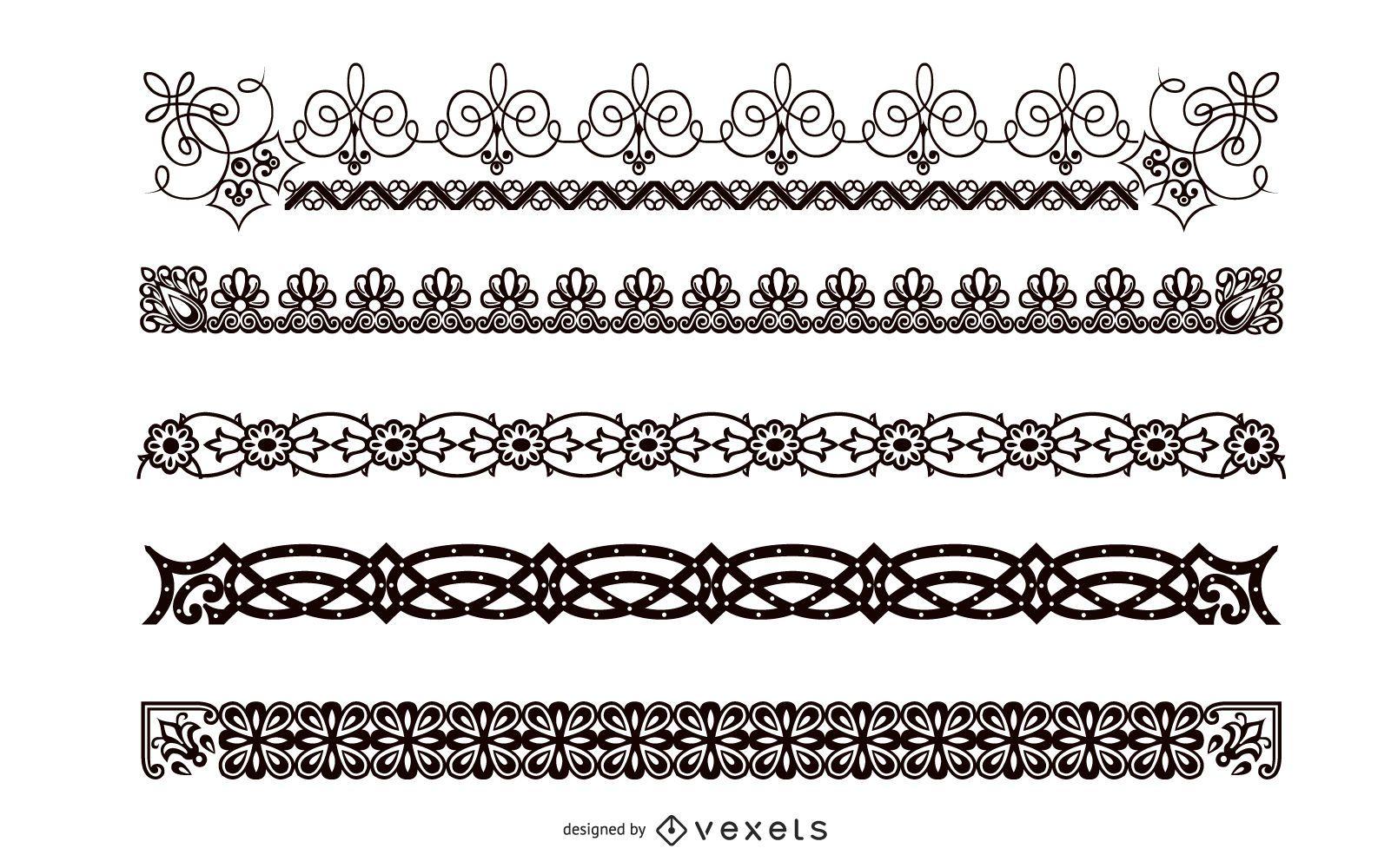 Conjunto de borde abstracto blanco y negro