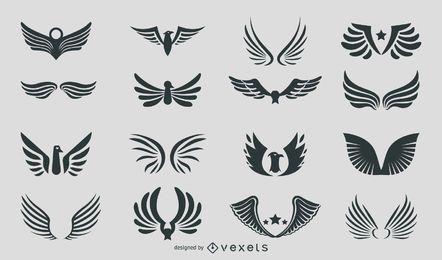 Silueta abstracta del paquete de águilas y alas
