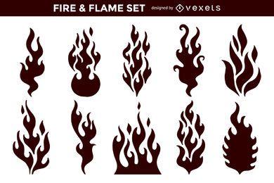 Flache abstrakte Feuer Flamme Pack