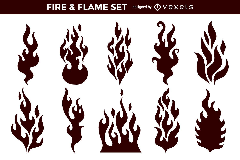 Paquete de llamas de fuego abstracto plano