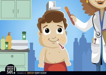 Caricatura, menino, em, exame médico