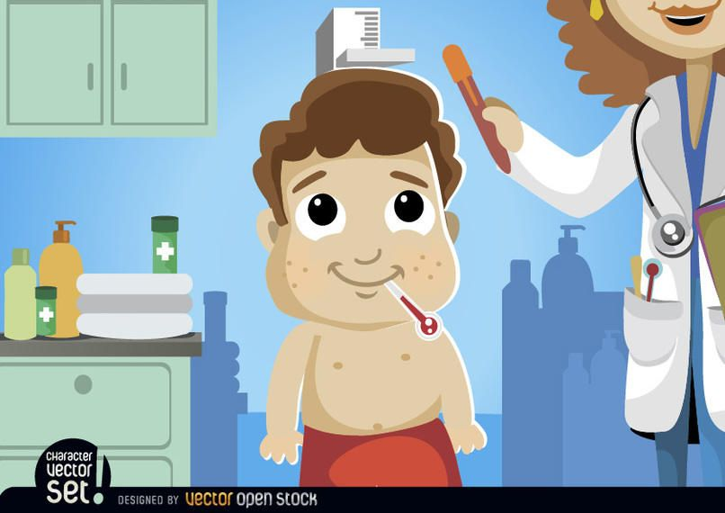 Cartoon boy in medical exam