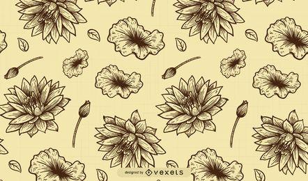 Elegante línea de arte floral patrón de la vendimia