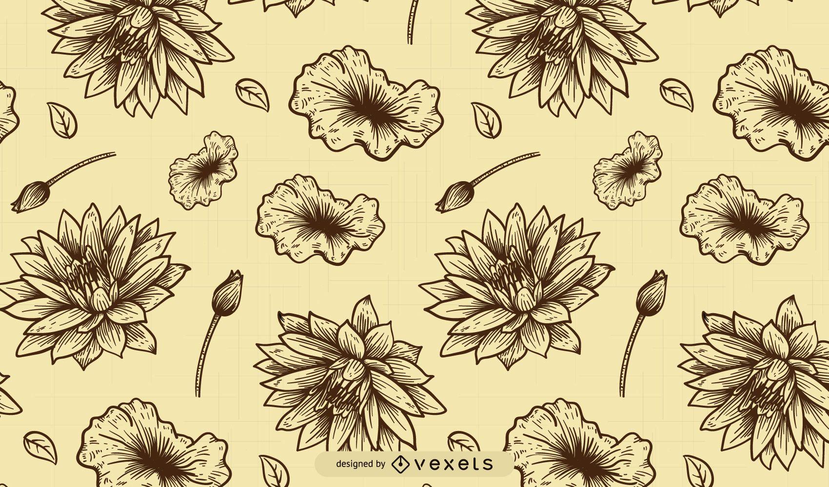 Elegant Vintage Line Art Floral Pattern