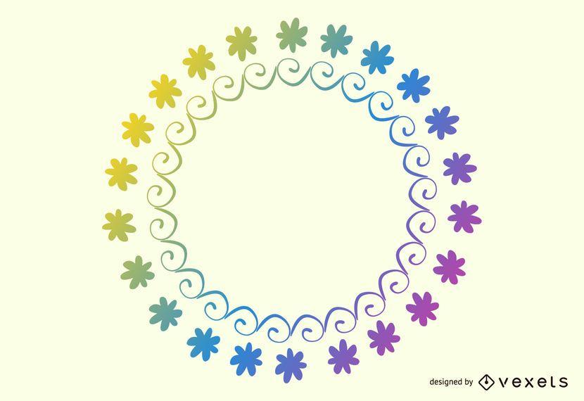 Marco circular floral del arco iris simplista