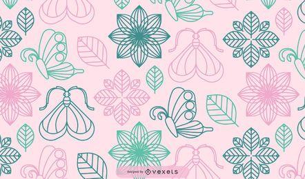 Plantas de flores abstractas con mariposa decorativa