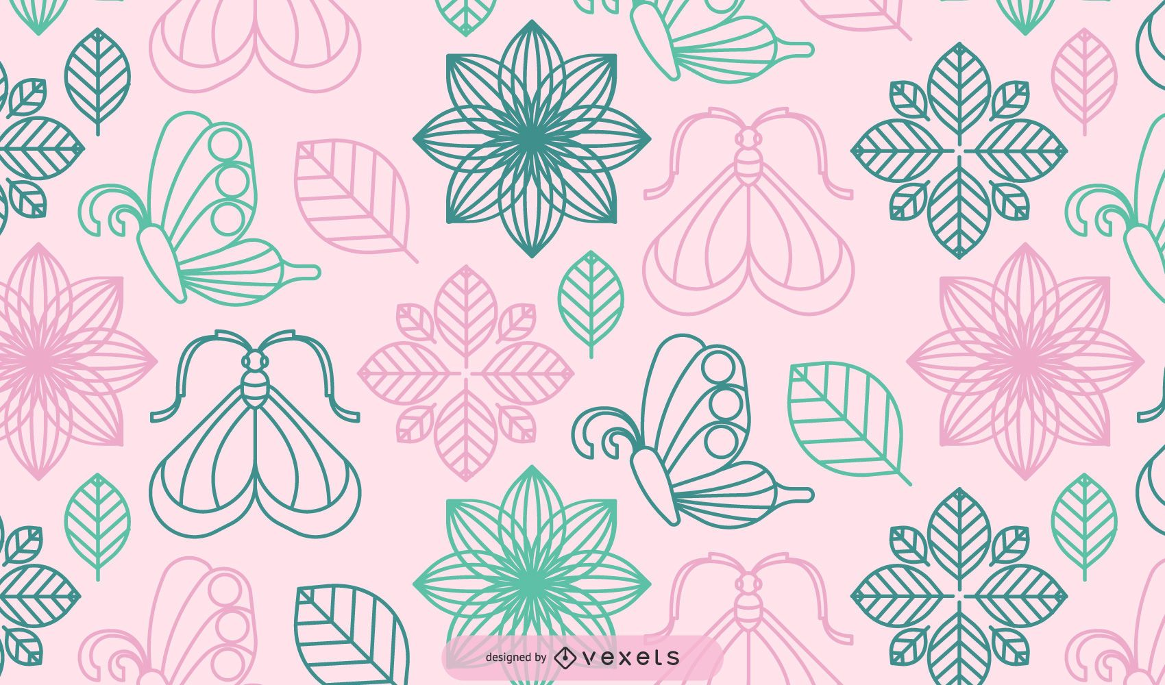 Abstract Flower Plants with Decorative Butterfly